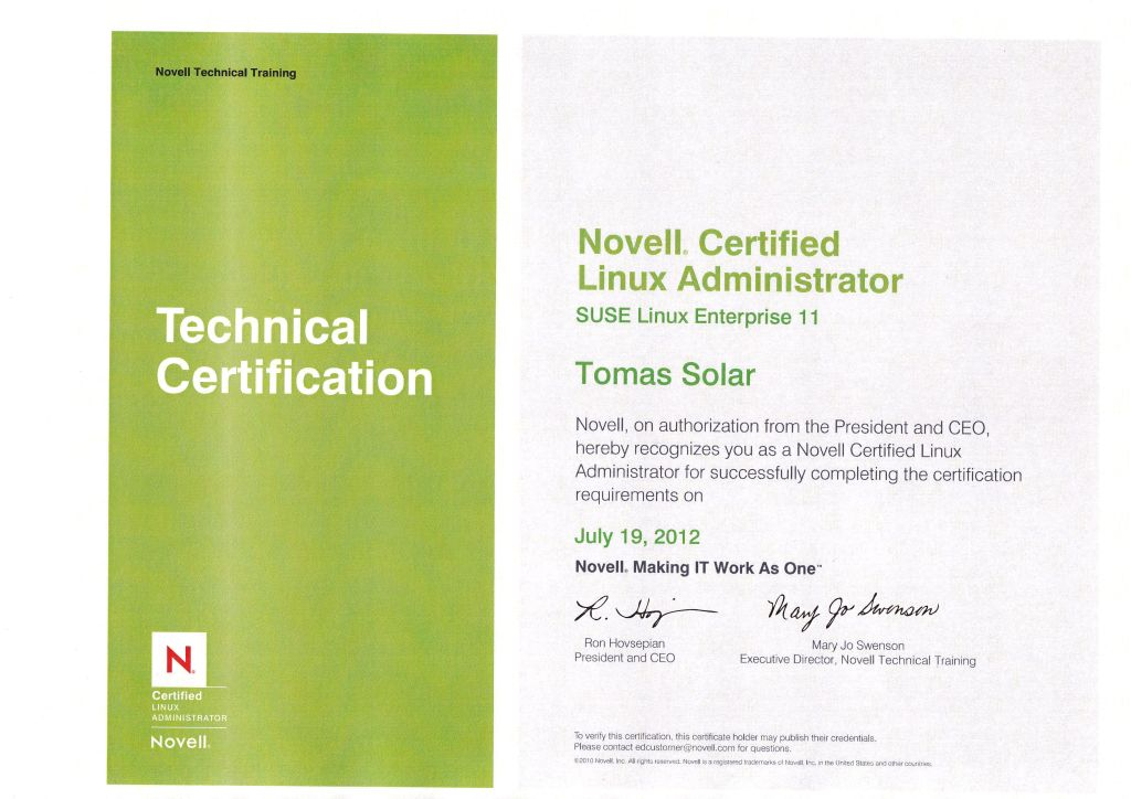 certificate administrator novell tomas solar linux suse certified