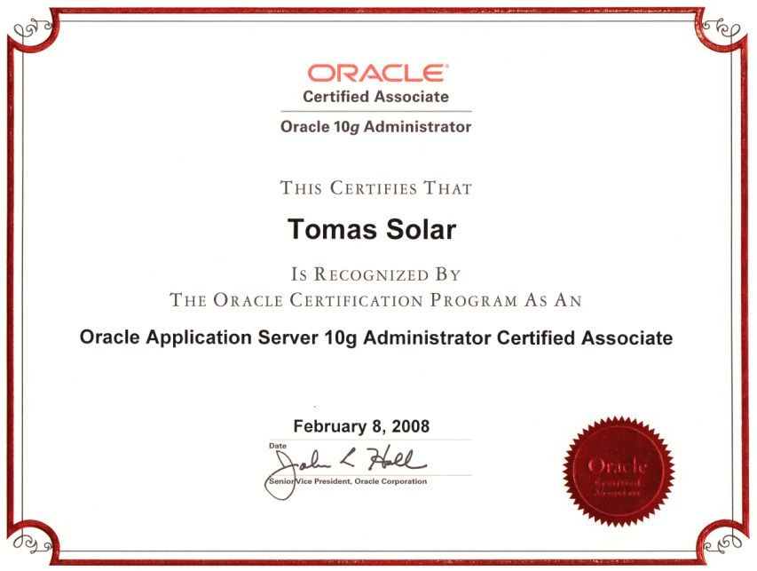About me - Database administrator – Tomas Solar Consulting