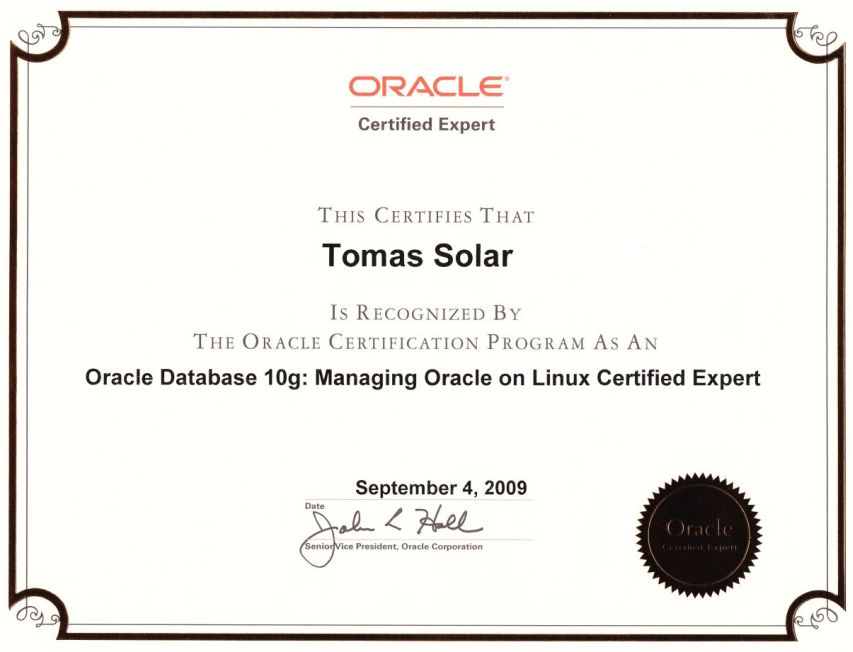 About Me Database Administrator Tomas Solar Consulting